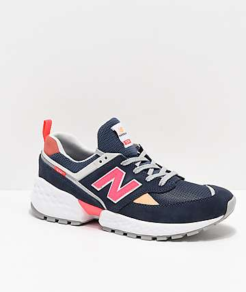 New Balance Lifestyle 574 Sport Navy & Guava Shoes