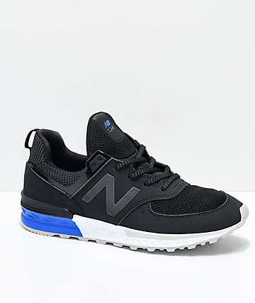 New Balance Lifestyle Boys 574 Sport Black, White & Blue Shoes