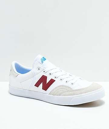 New Balance Numeric 212 Pro Court zapatos de skate en blanco y color borgoño