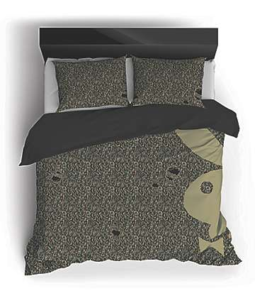 Night Shift X Playboy Ripped Camo Knit Queen Comforter Set