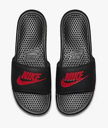 Nike Benassi Black & Red Slide Sandals