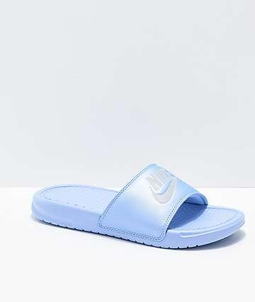 Nike Benassi Blue Metallic Slide Sandals