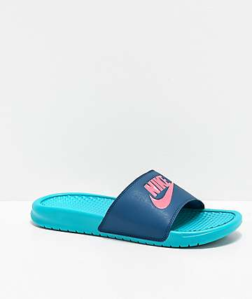 Nike Benassi JDI Teal Nebula & Sunset Pulse Slide Sandals