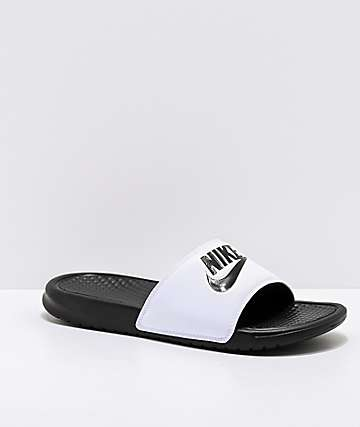Nike Benassi White & Black Slide Sandals