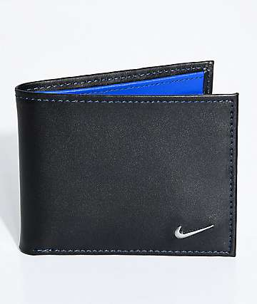 Nike Color Blocked Bi-Fold Black & Blue Wallet