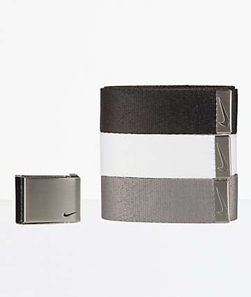 Nike Essentials 3 Pack Grey, White & Black Web Belts