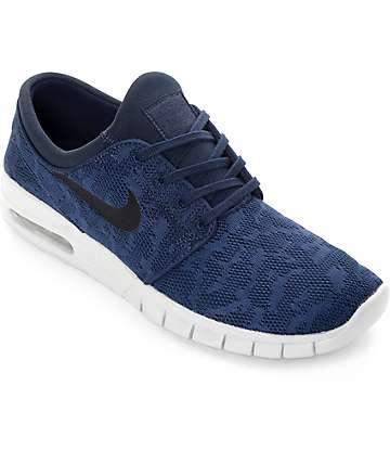 Nike Janoski Max zapatos de skate en azul marino y gris