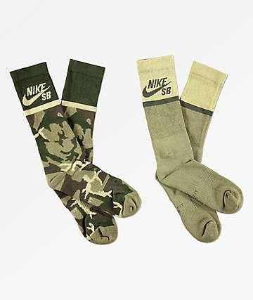 Nike SB 2 Pack Camo Crew Socks