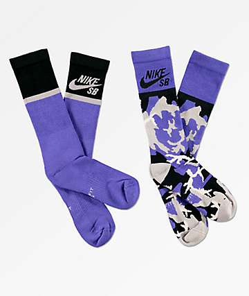 Nike SB 2 Pack Energy Purple Crew Socks