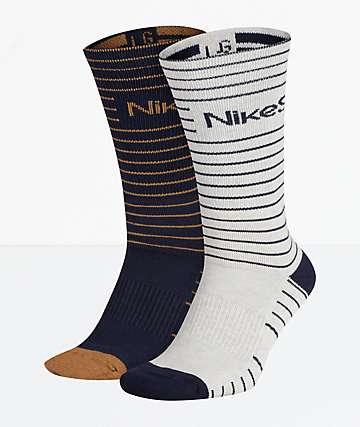 Nike SB 2 Pack Navy & White Striped Crew Socks