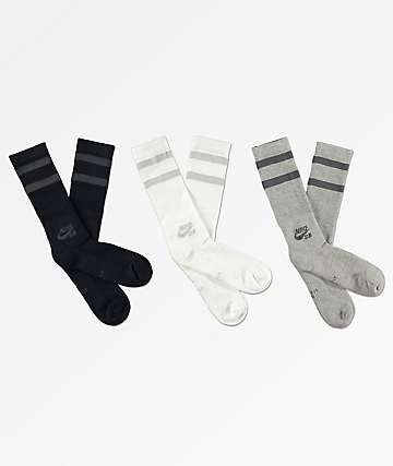Nike SB 3 Pack Black, White & Grey Crew Socks