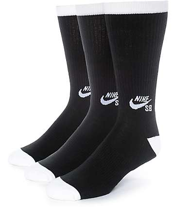 Nike SB 3 Pack Black Crew Socks