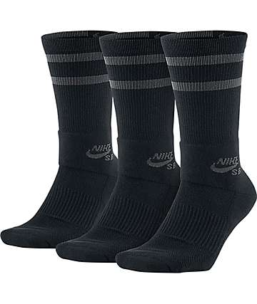 Nike SB 3 Pack Skate Black Crew Socks