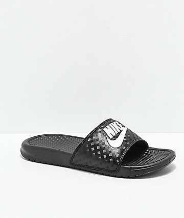 Nike SB Benassi Black & White Slide Sandals