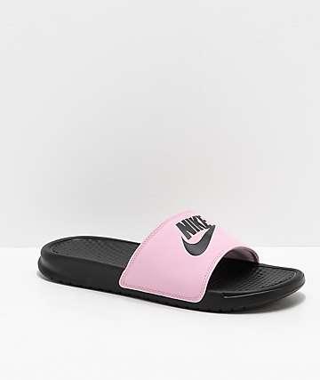 Nike SB Benassi Pink Foam & Black Slide Sandals