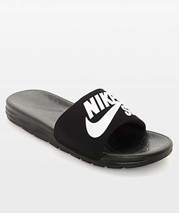 176125fb8 Nike SB Benassi SolarSoft Black   White Slides