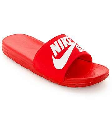 rojo Nike blanco y deslizantes Benassi sandalias SolarSoft SB xpAHqBz