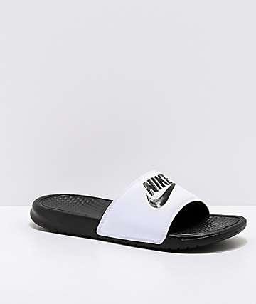 3814e9977 Nike SB Benassi White   Black Slide Sandals