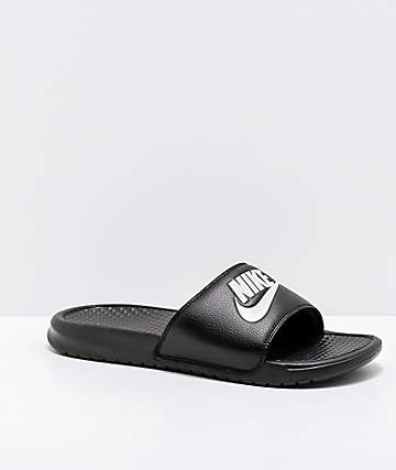 Nike SB Benassi White Logo Black Slide Sandals