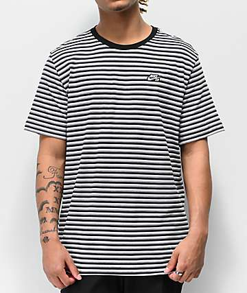 Nike SB Black, White & Grey Striped T-Shirt
