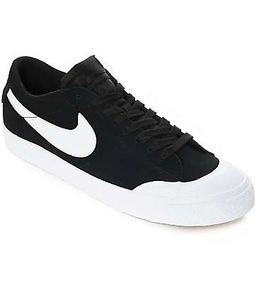Nike SB Blazer XT Low Black & White Suede Skate Shoes