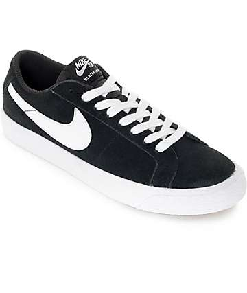 Nike SB Blazer Zoom Black & White Suede Skate Shoes