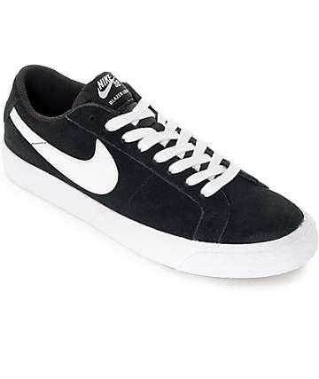 Nike SB Blazer Zoom Black & White Suede Skate Shoes