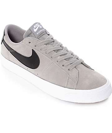 Nike SB Blazer Zoom Grey & White Suede Skate Shoes