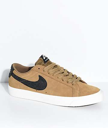 Nike SB Blazer Zoom Low Golden Biege & White Suede Skate Shoes