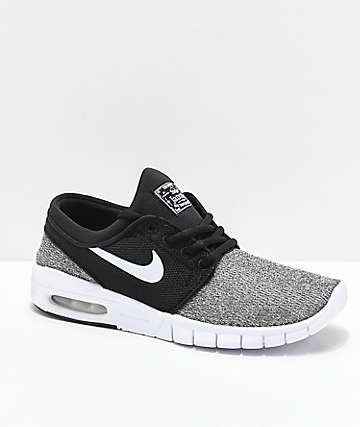 Nike SB Boys Janoski Air Max Black & Grey Skate Shoes