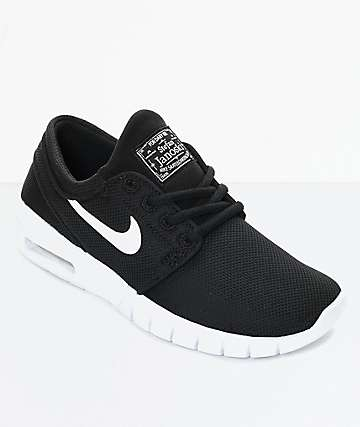 Nike SB Boys Janoski Air Max Black & White Skate Shoes