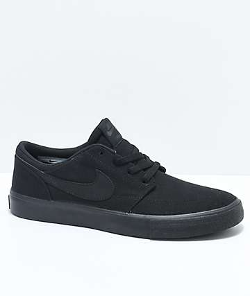 Nike SB Boys Portmore II All Black Canvas Skate Shoes