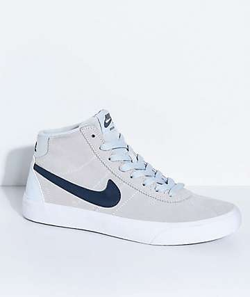Nike SB Bruin Hi Pure Platinum, Obsidian & White Skate Shoes