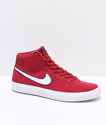 Nike SB Bruin Hi Red Crush & White Skate Shoes