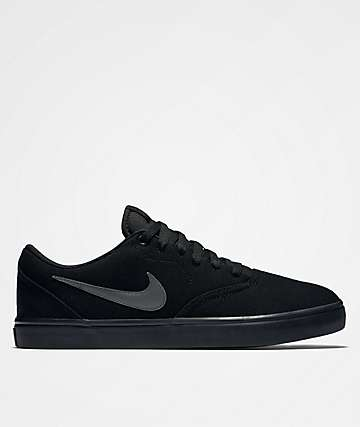 Nike SB Check Solarsoft All Black Canvas Skate Shoe