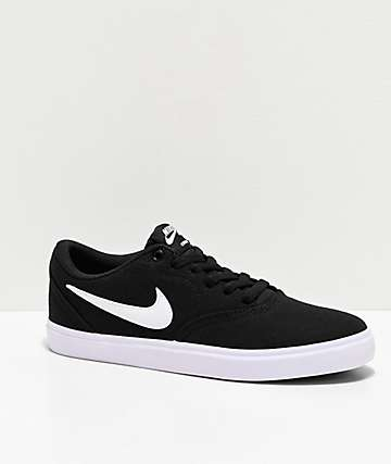 Nike SB Check Solarsoft Black & White Canvas Skate Shoes