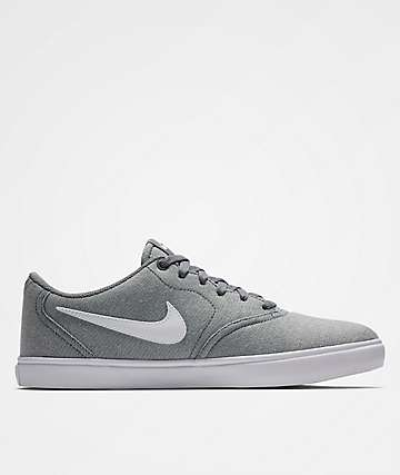 Nike SB Check Solarsoft Grey Canvas Skate Shoes