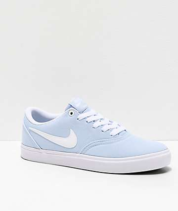 Nike SB Check Solarsoft Light Blue & White Skate Shoes
