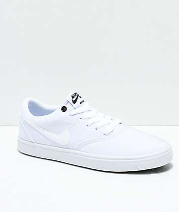 Nike Sb Check Solarsoft White Canvas Skate Shoes