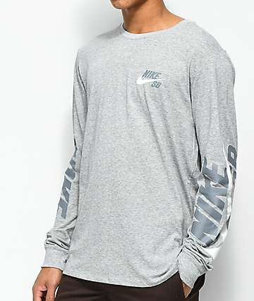 Nike SB DRY Tonal Grey Long Sleeve T-Shirt