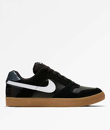 Nike SB Delta Force Vulc Black, White & Gum Skate Shoes