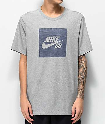 Nike SB Dri-Fit Logo Chambray Grey T-Shirt