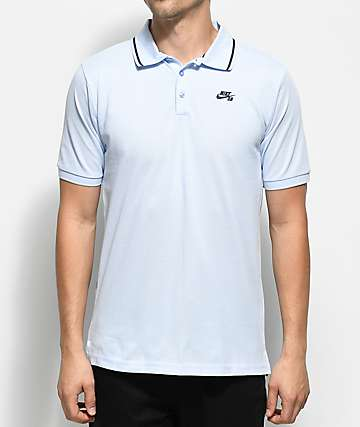 Nike SB Dri Fit Pique Knit Hydrogen Blue Polo Shirt
