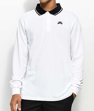 Nike SB Dri Fit Pique Knit White Long Sleeve Polo Shirt
