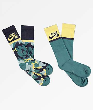 Nike SB Energy 2 Pack Blue & Yellow Crew Socks