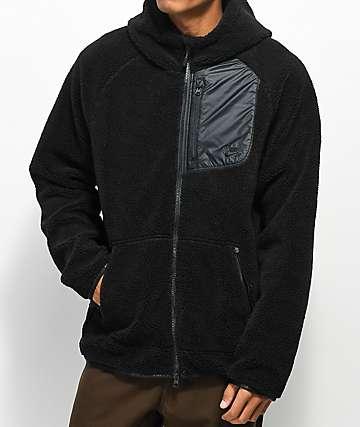 Nike SB Everett Sherpa sudadera negra con capucha y cierre de cremalleras