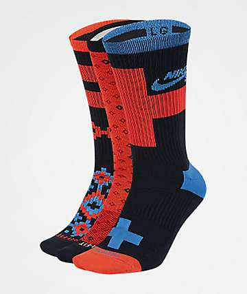 Nike SB Everyday Max Lightweight Black, Red & Blue 3 Pack Crew Socks
