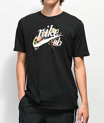 Nike SB Floral Old School Logo Black T-Shirt