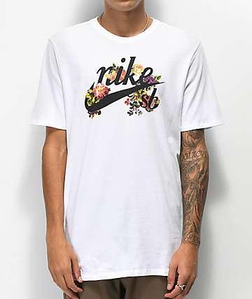 Nike SB Floral Oldschool Logo White T-Shirt