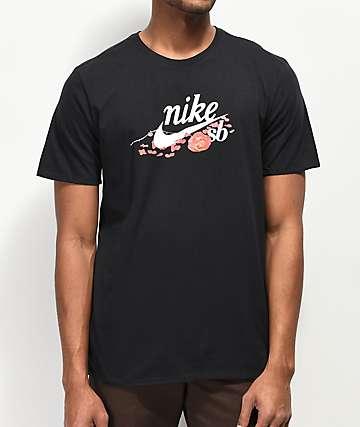 Nike SB Floral Roses Black T-Shirt